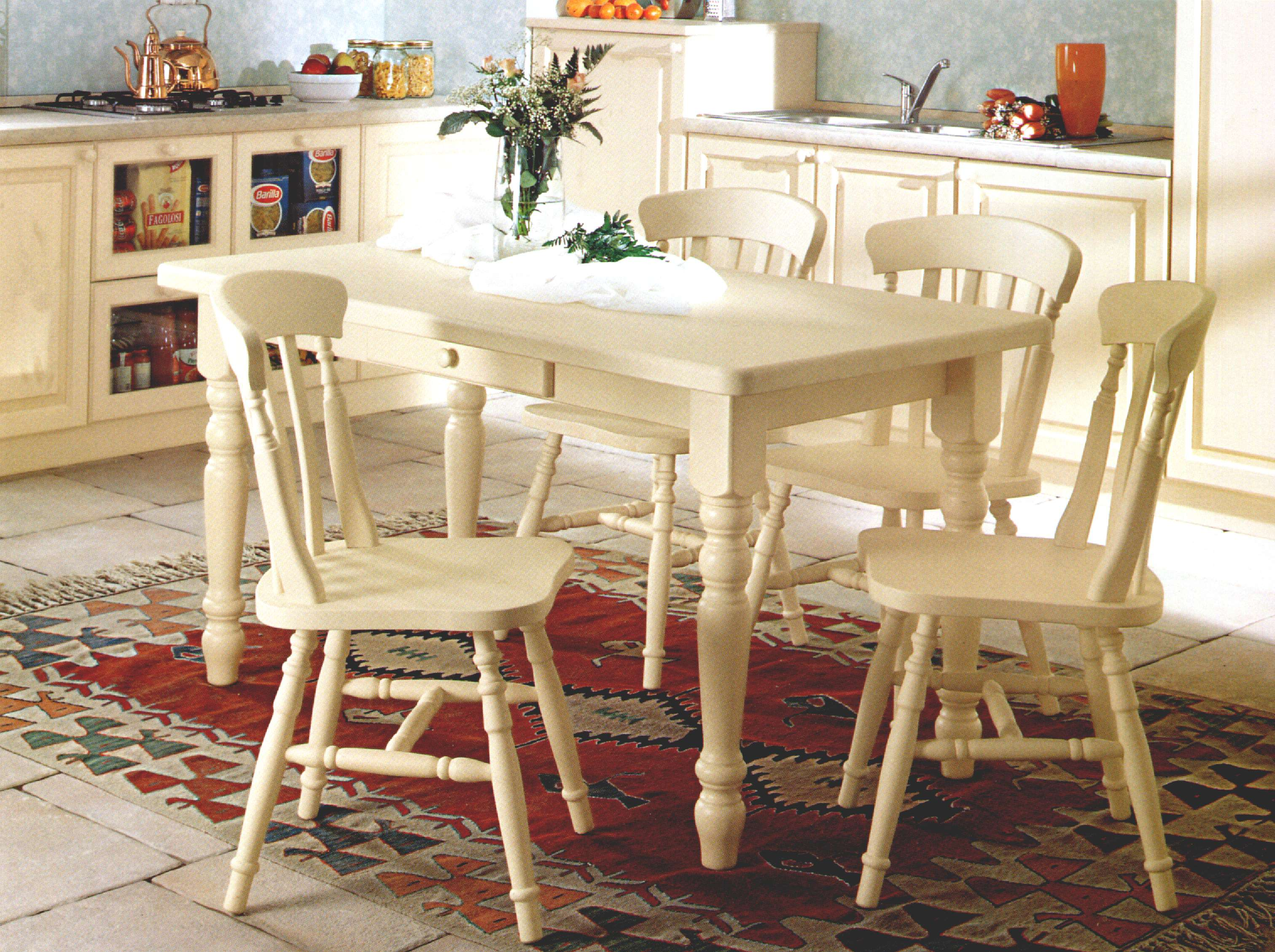 Ivory Painted Kitchen Table And Chairs
